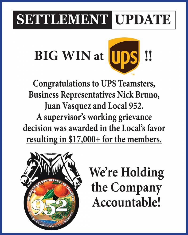Settlement Update - Big Win at UPS