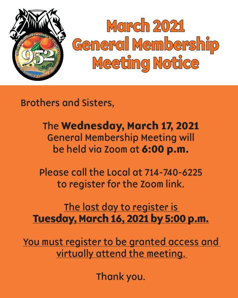 March 2021 General Membership Meeting Notice