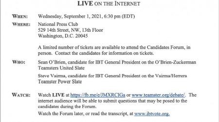 IBT Candidates Forum LIVE on the Internet Wednesday, September 1, 2021