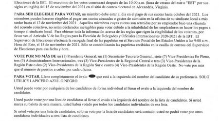 IBT 2021 Election Notice – Spanish Text